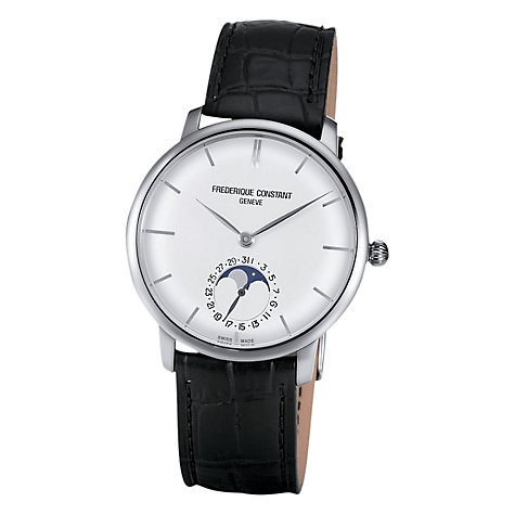 Buy Frédérique Constant FC-705S4S6 Men's Classics Slim Line Moonphase Leather Strap Watch, Black/White Online at johnlewis.com