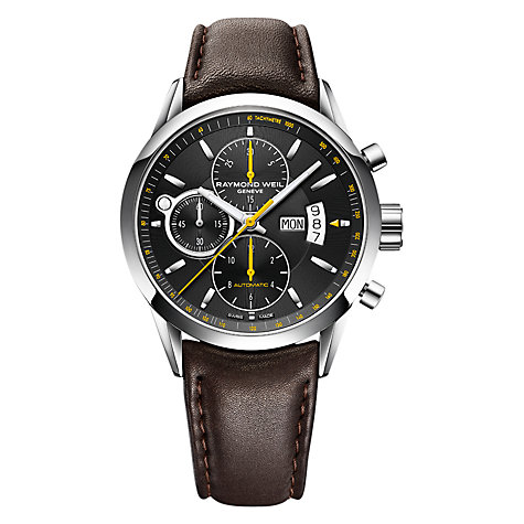 Buy Raymond Weil 7730-STC-20021 Men's Freelancer Chronograph Leather Strap Watch, Brown/Black Online at johnlewis.com