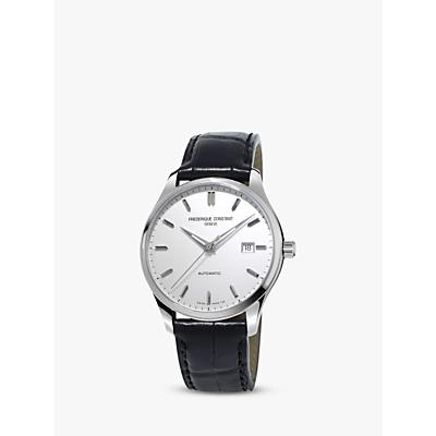 Frédérique Constant FC-303S5B6 Men's Classics Index Automatic Leather Strap Watch, Black/White