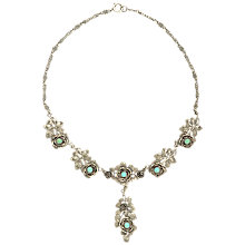 Buy Sharon Mills 1950s Silver Roses Necklace Online at johnlewis.com
