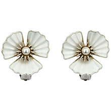 Buy Sharon Mills Silver Plated Enamel Pearl Flower Clip-On Earrings Online at johnlewis.com