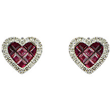 Buy Sharon Mills 9ct White Gold Ruby And Diamond Stud Earrings Online at johnlewis.com