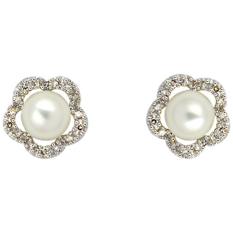 Buy Sharon Mills 9ct White Gold Diamonds And Pearl Stud Earrings Online at johnlewis.com
