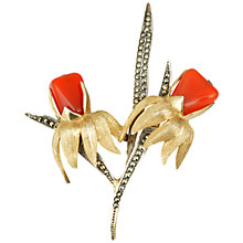 Buy Sharon Mills Silver And Gold Marcasite Double Flower Brooch Online at johnlewis.com