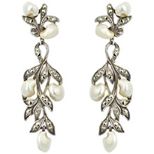 Buy Sharon Mills 1950s Silver Marcasite Leaf And Pearl Earrings Online at johnlewis.com