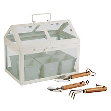 Buy John Lewis Mini Green House With Tools, Cream Online at johnlewis.com