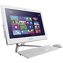 "Buy Lenovo C340 All-in-One Desktop PC, Intel Pentium, 4GB RAM, 1TB, 20"", White Online at johnlewis.com"