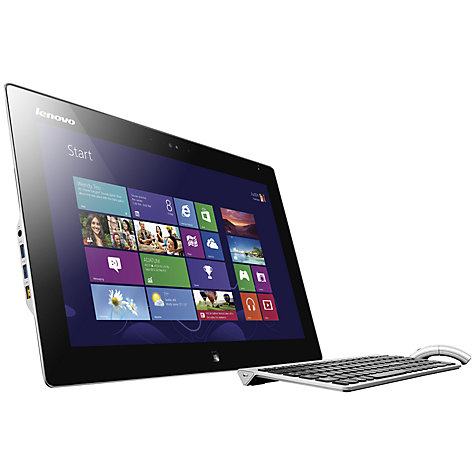 "Buy Lenovo IdeaCentre Flex 20 Dual-Mode All-in-One Desktop PC, Intel Core i3, 4GB RAM, 500GB+8GB SSHD, 19.5"" Touch Screen, Black & Silver Online at johnlewis.com"