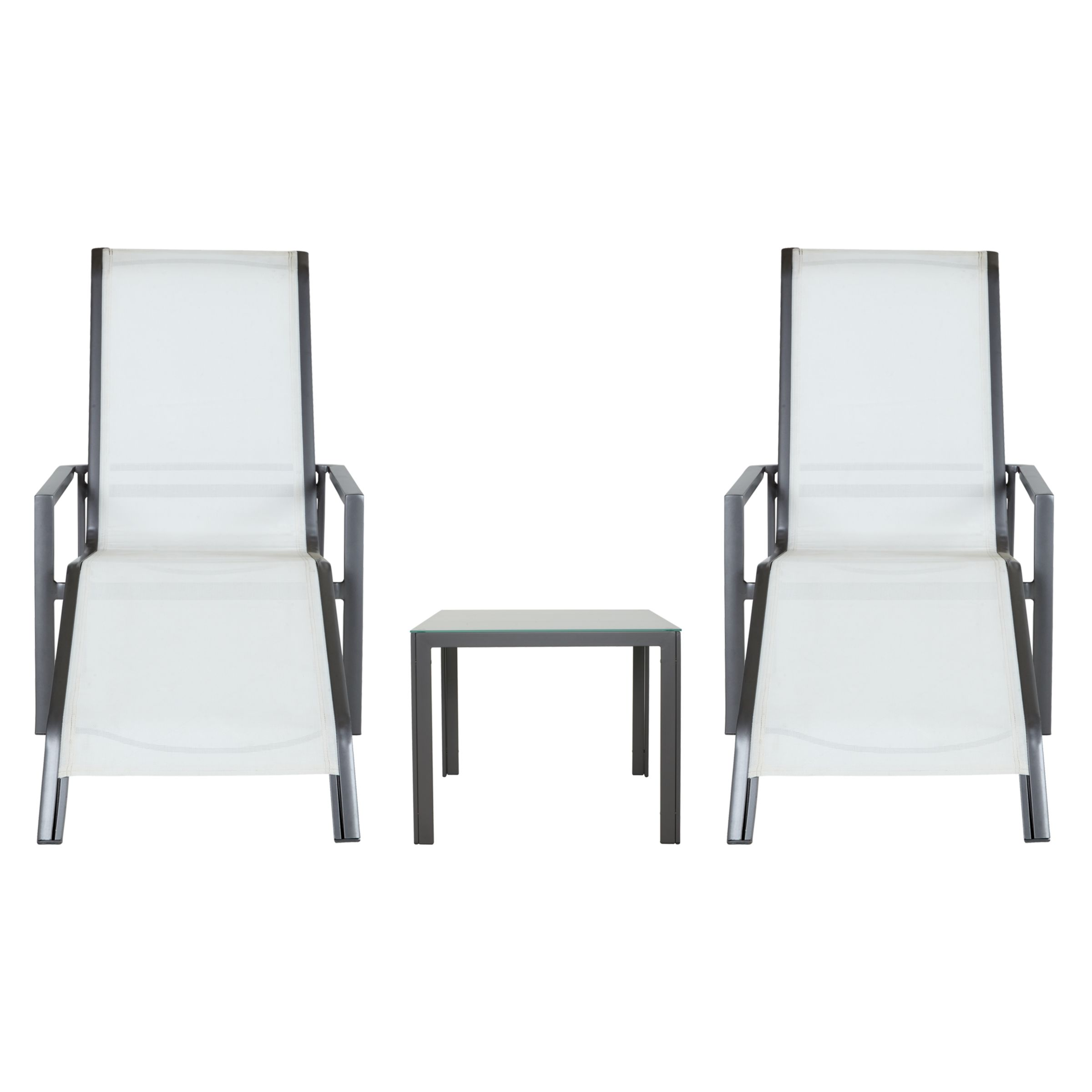 John Lewis Milo Sunlounger and Side Table, Set of 2