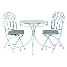 Buy John Lewis Vichy Bistro Set, Pale Silver Sage Online at johnlewis.com