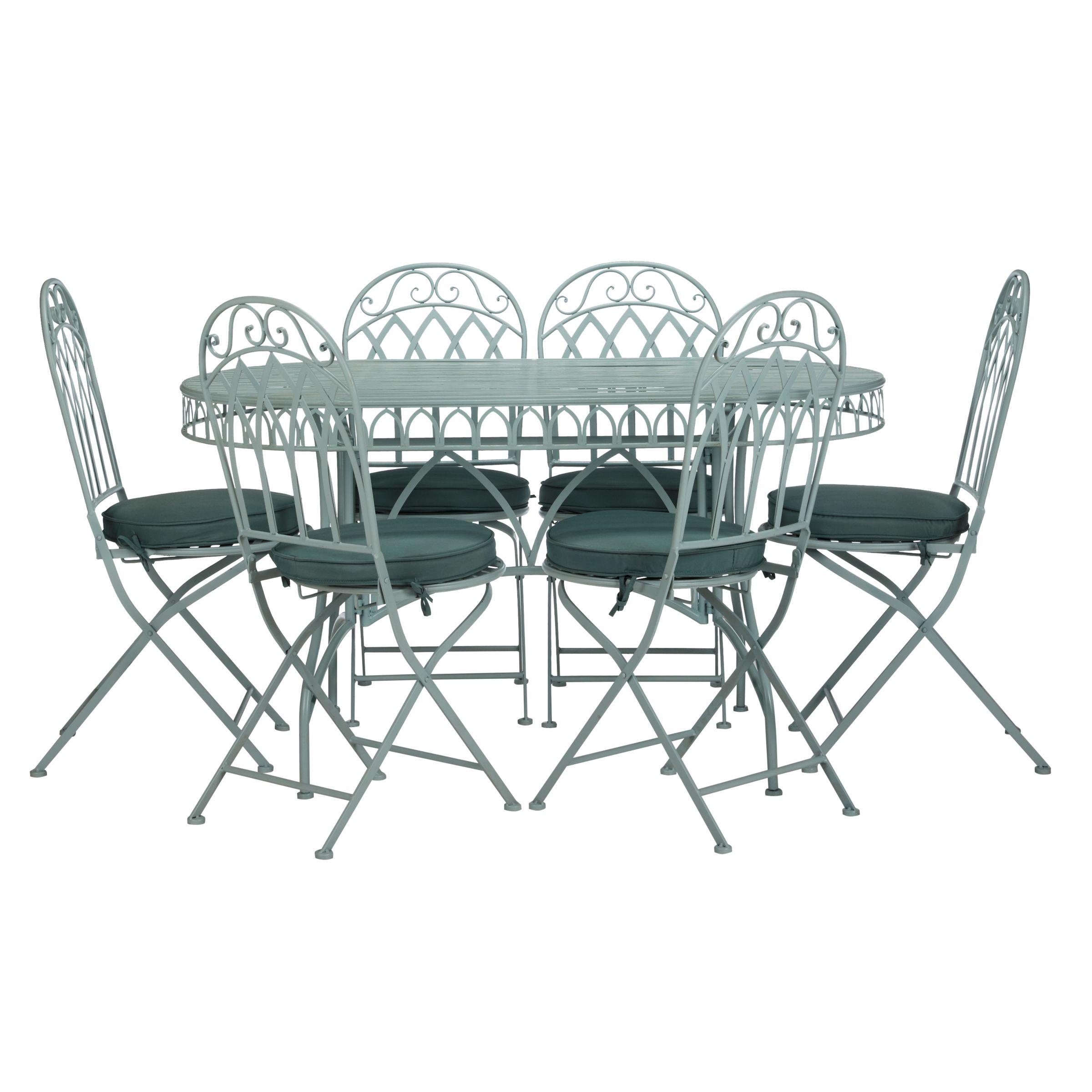 John Lewis Vichy 6 Seater Dining Set, Pale Silver Sage
