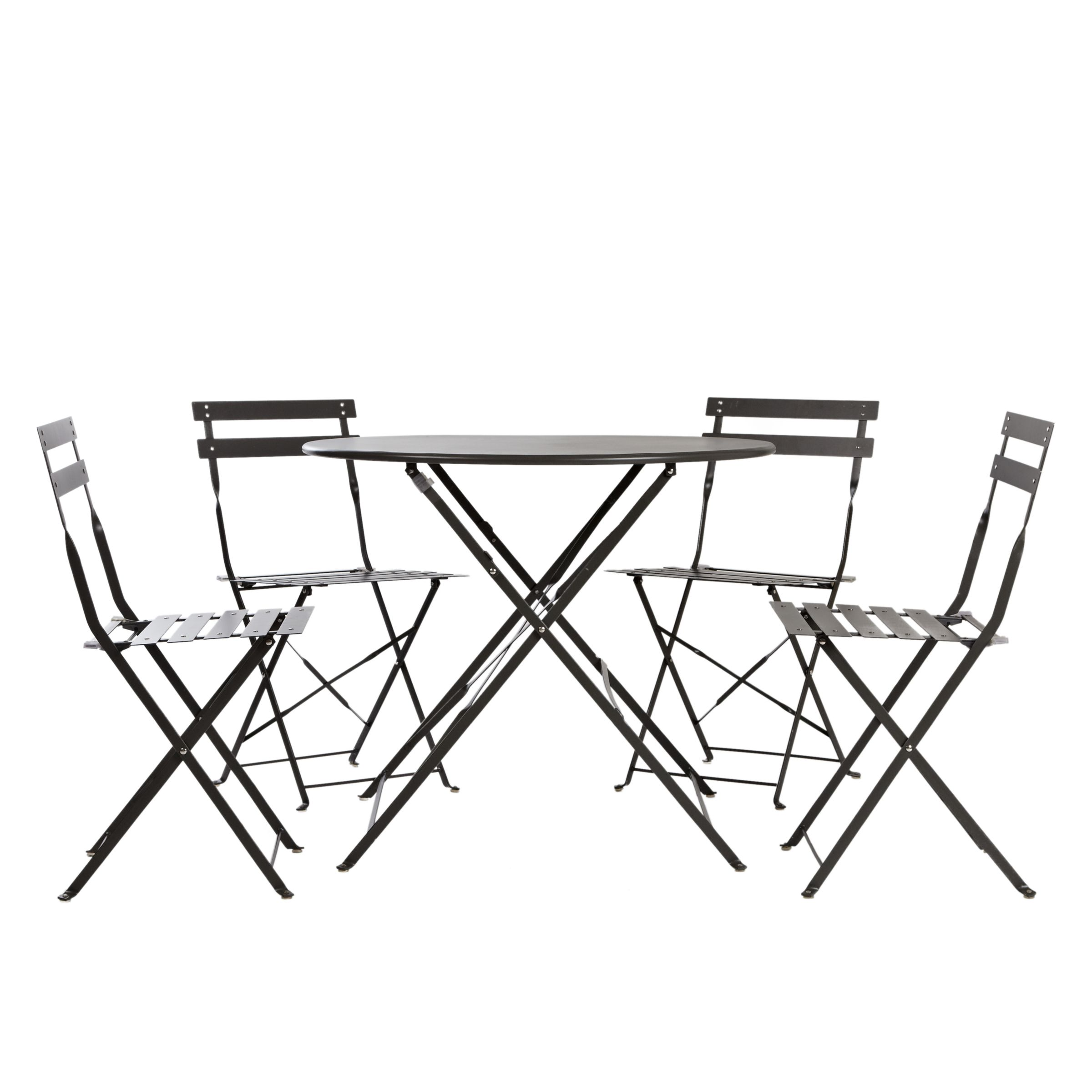 House by John Lewis Soho Round 4 Seater Outdoor Bistro Set, Charcoal