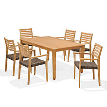 Buy John Lewis Longstock Rectangle Outdoor Dining Table & 6 Woven Stacking Armchairs, FSC-Certified (Teak), Natural Online at johnlewis.com