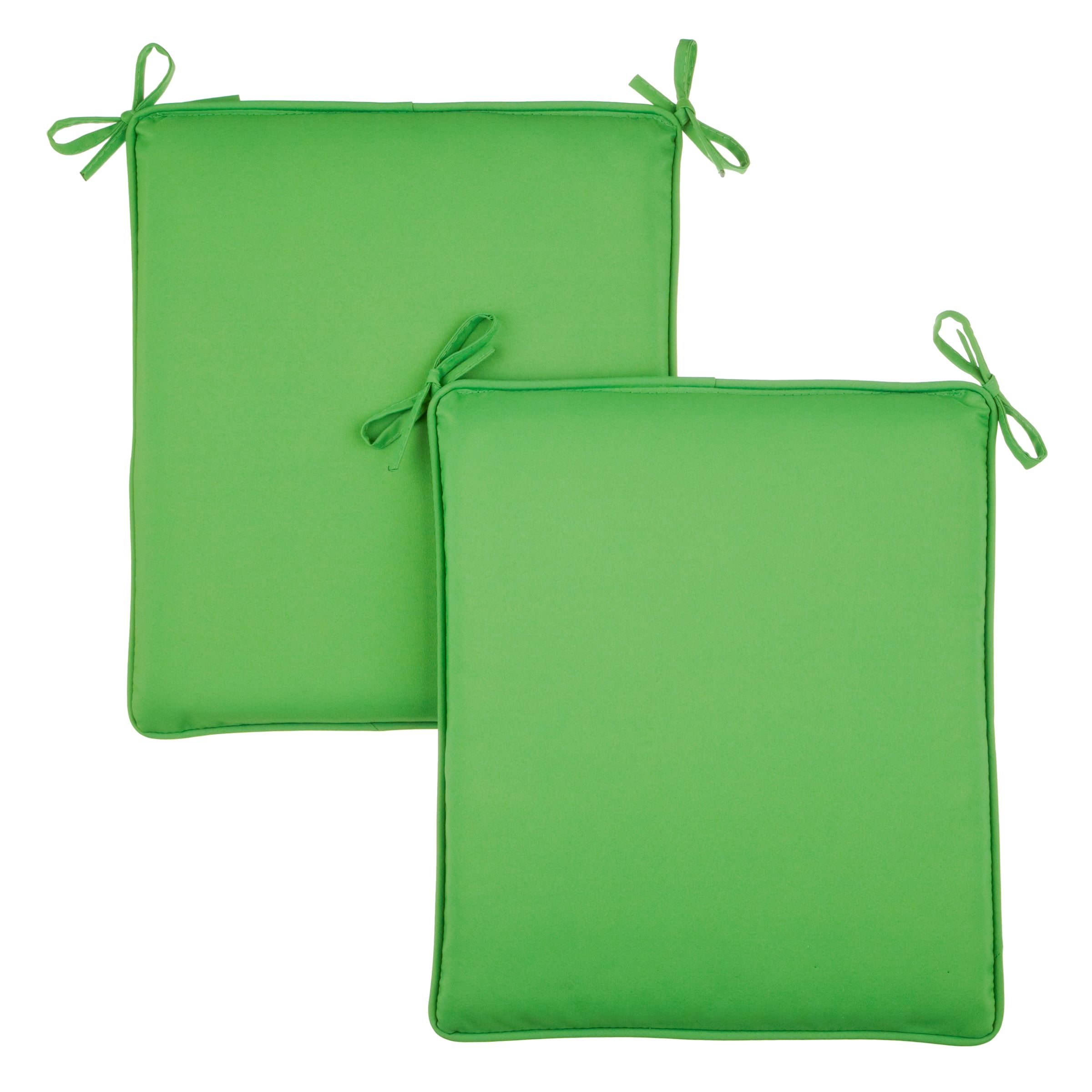House by John Lewis Bistro Outdoor Seat Pads, 2 Pack, Green Marble