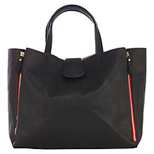 Buy Warehouse Contrast Zip Tote Bag, Black Online at johnlewis.com