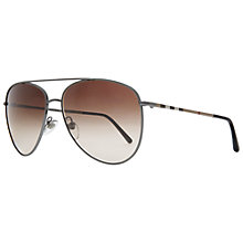 Buy Burberry BE3072 100313 Aviator Sunglasses, Brown Online at johnlewis.com