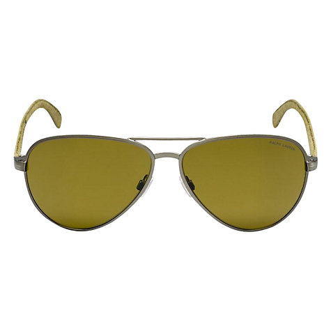 Buy Polo Ralph Lauren PH3082 924573 Aviator Sunglasses with Fabric Arms, Green Online at johnlewis.com