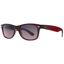 Buy Ray Ban RB2132 843/77 New Wayfarer Polarised Sunglasses, Dark Red Online at johnlewis.com