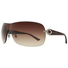 Buy Bvlgari BV6067B 102/13 Wraparound Visor Embellished Temple Sunglasses, Brown Online at johnlewis.com