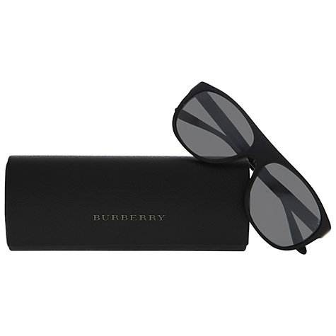 Buy Burberry BE4143 Thick Square Frame Sunglasses, Black Online at johnlewis.com