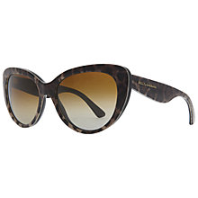 Buy Dolce & Gabbana DG4189 1995T5 Polarised Leopard Cat's Eye Sunglasses, Brown Online at johnlewis.com