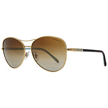 Buy Tiffany & Co TF3041 6084t5 Polarised Aviator Sunglasses, Gold Online at johnlewis.com