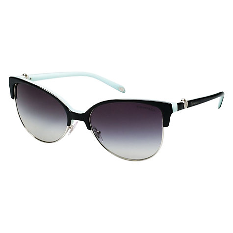 Buy Tiffany & Co Tf4080 80553C Half Frame Cat's Eye Sunglasses, Black Online at johnlewis.com
