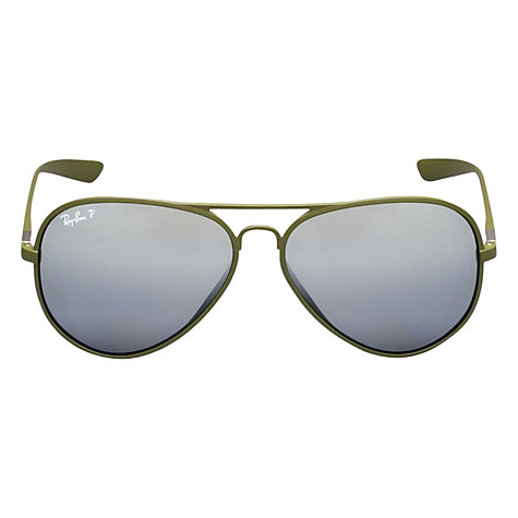 Buy Ray-Ban RB4180 882/82 Metal Framed Polarised Aviator Sunglasses, Matte Army Green Online at johnlewis.com