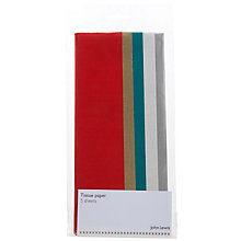Buy Tissue Paper in Christmas Colours, 5 sheets, Multi Online at johnlewis.com