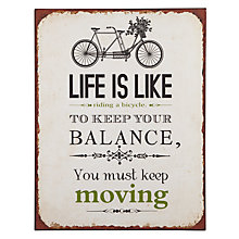 Buy John Lewis Life Is Like Riding A Bicycle Metal Plaque, 39 x 30cm Online at johnlewis.com