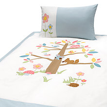 Buy Margaret Muir Woodland Animal Cotbed Duvet Set, White/Blue Online at johnlewis.com