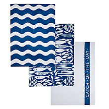 Buy John Lewis Fish Tea Towels, Set of 3 Online at johnlewis.com