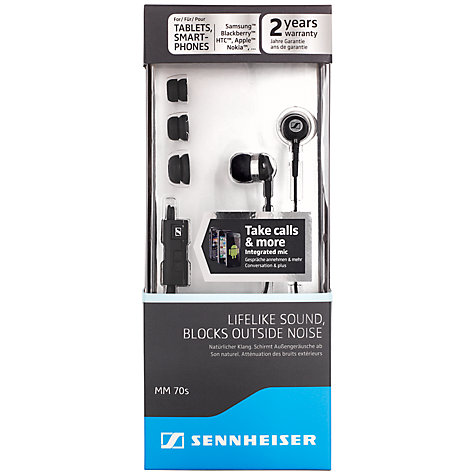Buy Sennheiser MM 70S In-Ear Headphones with Mic/Remote, Black Online at johnlewis.com