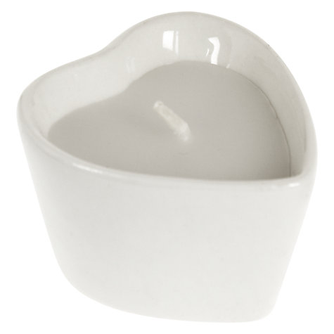 Buy John Lewis Heart Tealights, Pack of 6, White Online at johnlewis.com