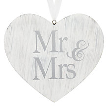 Buy John Lewis Mr & Mrs Wooden Heart Plaque Online at johnlewis.com