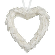 Buy Big Decs Feather Heart Decoration, Small, White Online at johnlewis.com