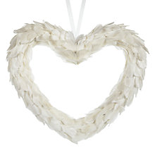 Buy Big Decs Feather Heart Decoration, Large, White Online at johnlewis.com