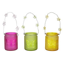 Buy John Lewis Butterfly Glass Tealight Holder, Assorted Online at johnlewis.com
