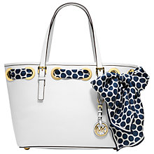 Buy MICHAEL Michael Kors Jet Set Small Tote Bag with Scarf, White Online at johnlewis.com