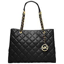 Buy MICHAEL Michael Kors Susannah Large Quilt Tote Leather Handbag, Black Online at johnlewis.com