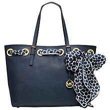 Buy MICHAEL Michael Kors Jet Set Small Leather Tote Handbag with Scarf Online at johnlewis.com