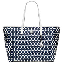 Buy MICHAEL Michael Kors Kiki Medium Leather Tote Handbag, Navy/White Online at johnlewis.com