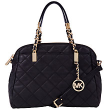 Buy MICHAEL Michael Kors Susannah Medium Quilt Tote Leather Handbag, Black Online at johnlewis.com
