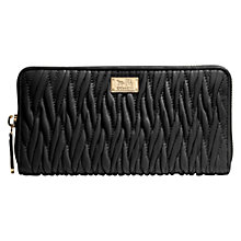 Buy Coach Madison Accordian Zip Gathered Twist Leather Wallet, Black Online at johnlewis.com