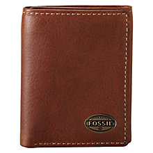Buy Fossil Estate Zip Trifold Wallet, Brown Online at johnlewis.com