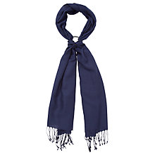 Buy John Lewis Wool & Viscose Mix Tassel Scarf, Navy Online at johnlewis.com