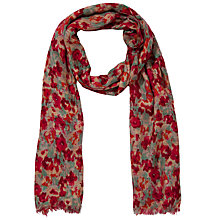 Buy John Lewis Blurred Poppy Floral Print Scarf, Red Online at johnlewis.com