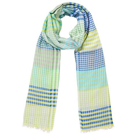 Buy Collection WEEKEND by John Lewis Check Print Cotton Scarf, Green Online at johnlewis.com
