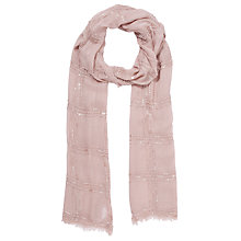 Buy John Lewis Embroidered Modal Occasion Scarf, Pink Online at johnlewis.com