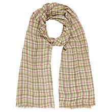 Buy Kin by John Lewis Scratchy Check Linen Mix Scarf, Yellow Online at johnlewis.com